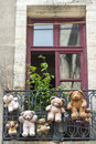 Uzes france hanged teddy bears gard languedoc roussillon at a balcony Royalty Free Stock Photography