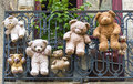 Uzes france hanged teddy bears gard languedoc roussillon at a balcony Royalty Free Stock Images