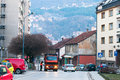 Uzhice town street of serbian in march Royalty Free Stock Photo