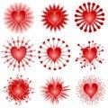 Vários ícones da arte de grampo dos corações do Valentim Imagem de Stock Royalty Free