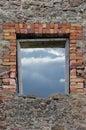 Vägg för stonework för masonryspillror förstörd lantlig Arkivfoton