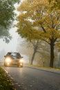 Véhicule en automne Image stock