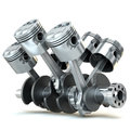 V6 engine pistons. 3D image. Royalty Free Stock Photo