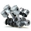 V6 engine pistons. 3D image. Royalty Free Stock Photo