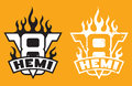 V8 Hemi engine emblem with flames and grunge option Royalty Free Stock Photo