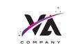 VA V A Black Letter Logo Design with Purple Magenta Swoosh Royalty Free Stock Photo
