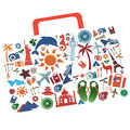 Vacation bag with a set of privileges for the well putishestviya Royalty Free Stock Photos