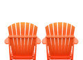 Vacation beach chairs on white two orange are isolated a background for a getaway or relaxation concept Stock Photography