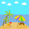 A vacation on a beach with palm trees, Ocean, sky and clouds wit