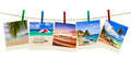 Vacation beach photography on clothespins Royalty Free Stock Photo