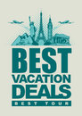 Vacation deals banner best offers for traveling with architectural landmarks Royalty Free Stock Photo