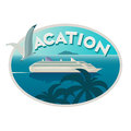 Vacation emblem with cruise liner