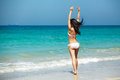 Vacation, happiness & resort. Woman with beautiful body Royalty Free Stock Photo
