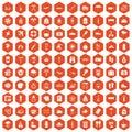 100 vacation icons hexagon orange