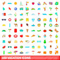 100 vacation icons set, cartoon style