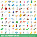 100 vacation icons set, isometric 3d style
