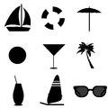Vacation icons on white background Royalty Free Stock Image
