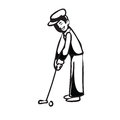 Vacation man putting golf BW Royalty Free Stock Photo