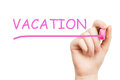 Vacation pink marker on white background Royalty Free Stock Photography