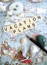 Vacation planning concept a photograph showing the words plans spelt out in block letters taken on old antique map of pacific rim Royalty Free Stock Images