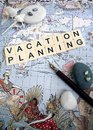 Vacation planning concept a photograph showing the words spelt out in block letters taken on old antique map of pacific rim region Stock Images