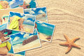Vacation postcards on a sand background with starfish Stock Image