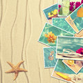 Vacation postcards on sandy background with starfish Stock Photography