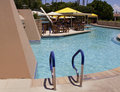 Vacation resort swimming pool beautiful outdoor at upscale hotel Royalty Free Stock Images
