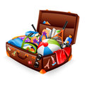 Vacation suitcase illustration of a stuffed ready for Royalty Free Stock Photo