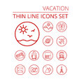 Vacation thin line icons se