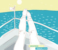 Vacation travel girl put feet on the boat she has a rest and looks at the sea illustration Royalty Free Stock Images