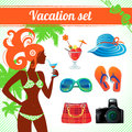 Vacation and travel icon set infographics for modern women Stock Images