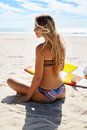 Vacation Travel. Surfer Woman Summer Beach Relax. Surfboard, Surfing Royalty Free Stock Photo
