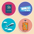 Vacation travel voyage icons set of suitcase plane tickets airplane and passport vector illustration Royalty Free Stock Image