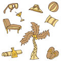 Vacation traveling icon set an image of travel objects Royalty Free Stock Image