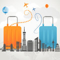 Vacation travelling composition concept with two bags and silhouette of a modern city Royalty Free Stock Photos