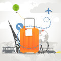 Vacation travelling composition with orange bag Royalty Free Stock Photo