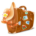 Vacation vector illustration with retro travel suitcase and beach hat Stock Images