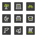 Vacation web icons, grey square buttons series Stock Photo