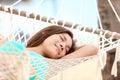 Vacation woman in hammock sleeping Stock Photography