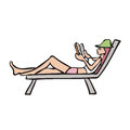 Vacation woman lay on beach bed reading book character chair Royalty Free Stock Images