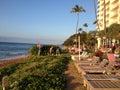 Vacationers enjoy sunset maui hawaii islands usa holiday maker enjoying watch sun set over ka anapali shore from dimond resorts Stock Image