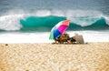 Vacationers at the Hawaiian beach Royalty Free Stock Photo