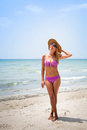 Vacations on the beach portrait of blond sexy woman Royalty Free Stock Photography
