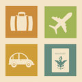 Vacations icons over pink background illustration Royalty Free Stock Images