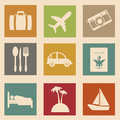 Vacations icons over pink background vector illustration Royalty Free Stock Photos