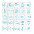 Vacations - set of icons. Vector graphics. Blue-silver color.