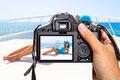 Vacations on the yacht cruise with camera Royalty Free Stock Image