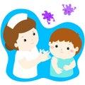 Vaccination child cartoon .