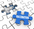 Vaccination immunity puzzle piece fill hole vaccinate prevent di word on and with to illustrate preventing disease and sickness Stock Photo